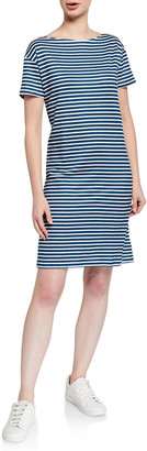 Majestic Filatures Striped Short-Sleeve Linen Dress