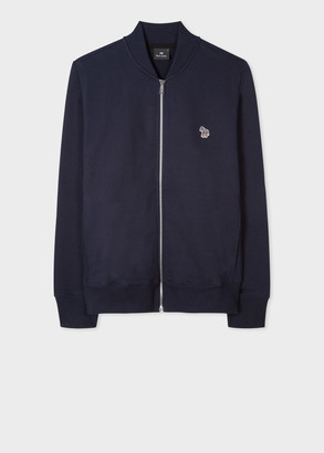 Men's Navy Zebra Logo Organic-Cotton Bomber Jacket