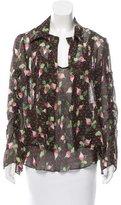 Carolina Herrera Floral Print Silk Blouse Set