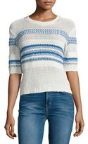 Current/Elliott The Mixed Stitch Stripe Half-Sleeve Sweater, Blue Horizon
