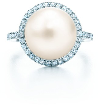 Tiffany & Co. South Sea Noble ring in platinum with diamonds and a cultured pearl