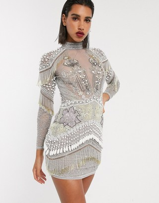 ASOS EDITION sheer mesh embellished dress