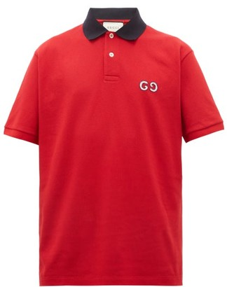 Gucci Logo-embroidered Cotton-blend Pique Polo Shirt - Red