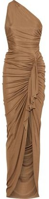Alexandre Vauthier One-shoulder Ruched Ribbed Stretch-jersey Gown