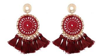 Burgundy Tassel Pendant Earrings