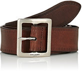 Saint Laurent Men's Antiqued Leather Belt-BROWN