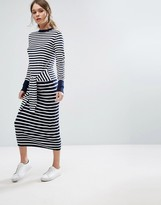 Warehouse Tie Front Stripe Dress