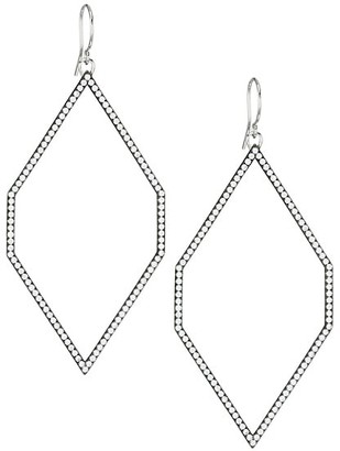 Adriana Orsini Edgy Black Ruthenium-Plated, Sterling Silver & Cubic Zirconia Extra-Large Geometric Hoop Earrings