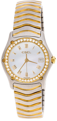 Ebel Mother of Pearl 18K Yellow Gold and Stainless Steel Diamond Classic Wave E1087F21 Women's Wristwatch 24MM