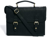 Asos Large Satchel Bag With Scallop Trim And Front Buckles