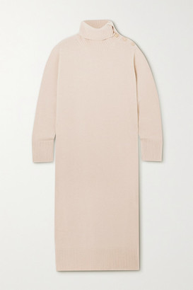 Max Mara Button-embellished Wool And Cashmere-blend Turtleneck Midi Dress - Beige
