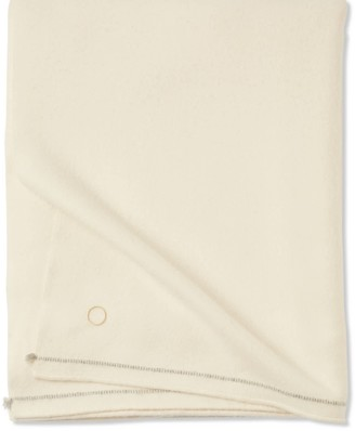 Oyuna Sabra Classic Woven Contrast Border Cashmere Throw Ivory