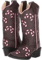 Old West Kids Boots Inlay Toe Leatherette Cowboy Boots