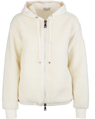 Moncler Woman White Cardigan With Hood