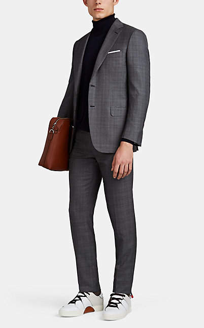 Brioni Men's Brunico Wool-Silk Two-Button Suit - Gray