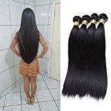 Jaycee Hair 7a Brazilian Virgin Hair Silky Straight Weft 4 Bundles 100% Unprocessed Human Hair Extensions Natural Color (100+/-5g/pc(14 14 16 16 )