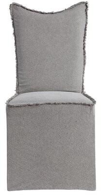 Rosalind Wheeler Mcgough Linen Upholstered Parsons Chair in Gray