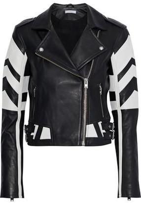 IRO Helvi Two-tone Textured-leather Biker Jacket
