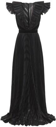 ZUHAIR MURAD Pleated Deep V Neck Long Dress