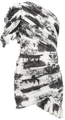 Alexandre Vauthier Puff-shoulder Asymmetric Floral-print Mini Dress - White Black
