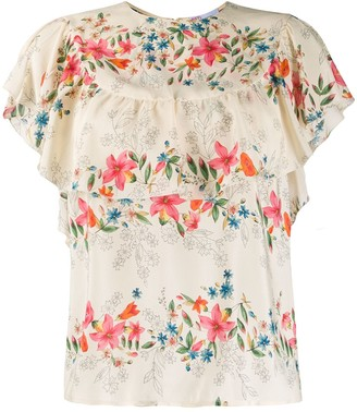 RED Valentino Frilled Floral Print Blouse