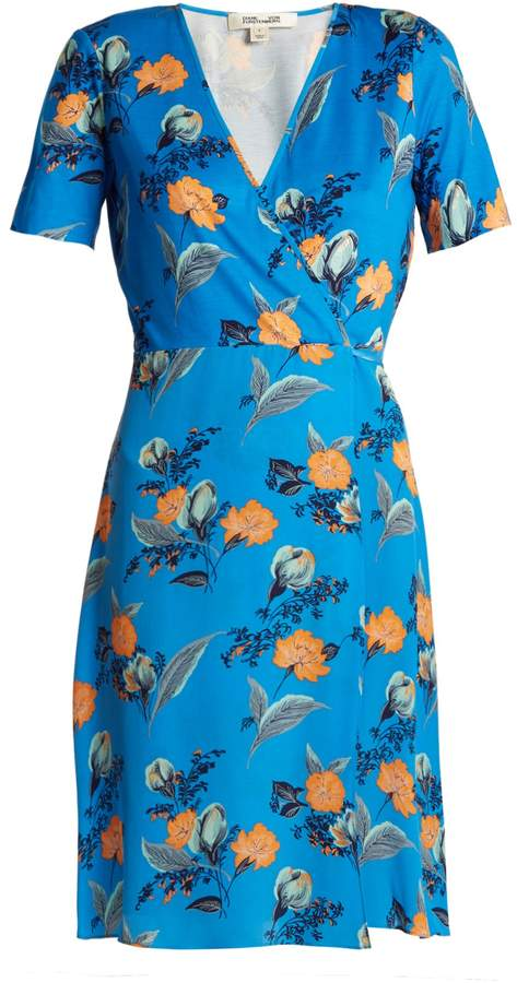 Diane von Furstenberg Silese floral-print short-sleeved silk wrap dress