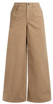 Brunello Cucinelli High-rise wide-leg stretch-cotton trousers