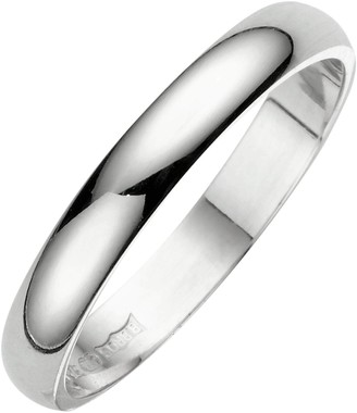 Love Gold 18 Carat White Gold D Shaped Wedding Band 3mm
