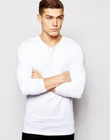Asos Muscle Long Sleeve T-shirt With Crew Neck In White