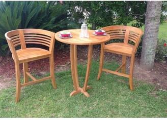 Chic Teak Half Moon Waxed Teak Wood Indoor/ Outdoor Bar Stool Chair