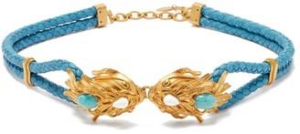 Sonia Petroff - Dragonfish-buckle Braided-leather Belt - Blue Multi