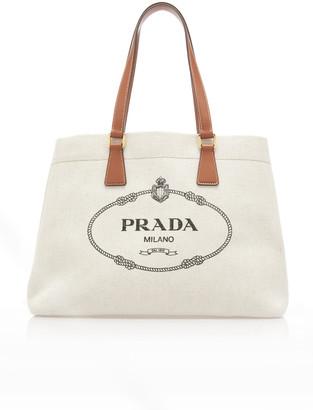 Prada Logo-Embroidered Canvas Tote Bag