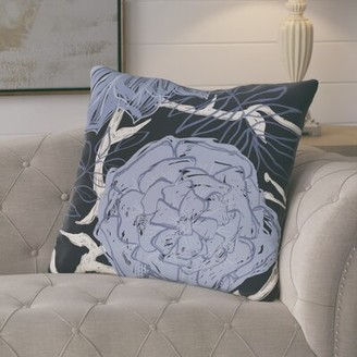 """Peri August Grove Ashley Flowers and Fronds Floral Print Outdoor Pillow August Grove Color: Peri, Size: 18"""" H x 18"""" W"""