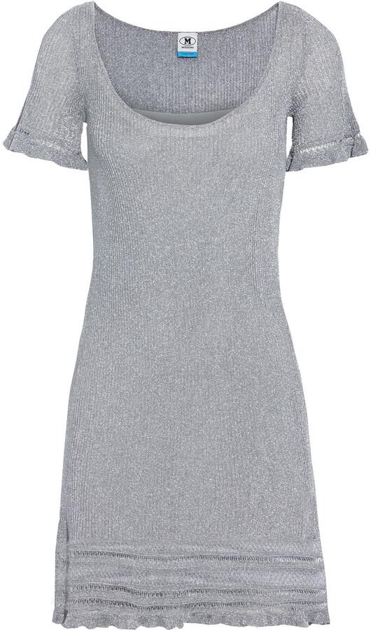 M Missoni Ruffle-trimmed Metallic Ribbed-knit Mini Dress