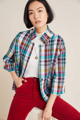 Anthropologie Rosetta Cropped Plaid Jacket