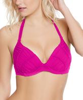Betsey Johnson Fuchsia Malibu Solids Molded Push-Up Bra Bikini Top