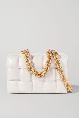 Bottega Veneta Cassette Chain-embellished Padded Intrecciato Leather Shoulder Bag - White