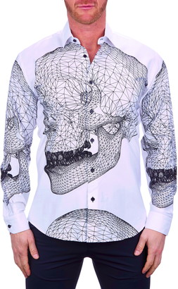 Maceoo Fibonacci Skull Regular Fit Button-Up Shirt