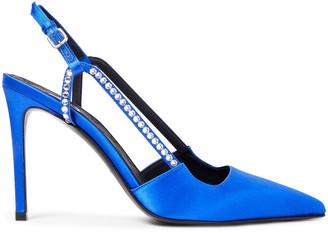 Balmain Madison Crystal-embellished Satin Slingback Pumps