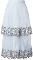 Christopher Kane Blue Lace Pleated Midi Skirt - women - Silk/Nylon/Polyamide/Acetate - 38