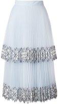 Christopher Kane Blue Lace Pleated Midi Skirt - women - Silk/Nylon/Polyamide/Acetate - 44