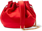 Diane von Furstenberg Love Power Mini Leather-trimmed Satin Bucket Bag - Red