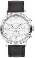 Montblanc 114339 Tradition Chronograph Alligator Leather Strap Watch, Black/white