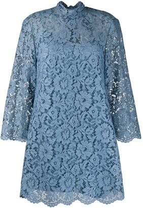 Valentino High Neck Lace Shift Dress
