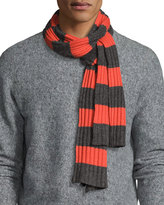 Portolano Stripe-Print Ribbed Scarf, Heather Charcoal/Orange