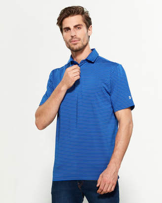 Under Armour Royal Blue Playoff Striped Loose Fit Short Sleeve Polo