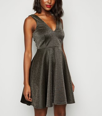 New Look Glitter Mini Skater Dress
