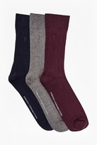 French Connection Amos Plain 3 Pack Fencing Basic Socks