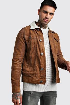 boohoo Mens Brown Regular Fit Borg Collar Cord Jacket, Brown
