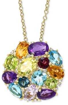 "Effy Multi-Gemstone (7-3/4 ct. t.w.) & Diamond (1/10 ct. t.w.) Round Cluster 18"" Pendant Necklace in 14k Gold"